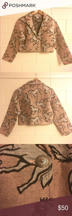 Vintage Southwest Canyon Horse Western Jacket Vintage horse print jacket from the 80s/90s era. Perfect for western or rodeo style. Pink with gray horse pattern. Has silver buttons. Slightly cropped length. Excellent Condition. Size XL. Vintage Jackets & Coats