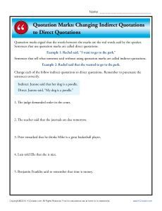 Quotation Marks: Changing Indirect Quotations to Direct Quotations Math Multiplication Worksheets, Punctuation Worksheets, Math Coloring Worksheets, 4th Grade Math Worksheets, Addition And Subtraction Worksheets, Language Arts Worksheets, Printable Worksheets, Punctuation Quotation Marks, Indirect Quotes