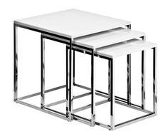 "Komplet 3 stolików ""Triple Chrome White"""