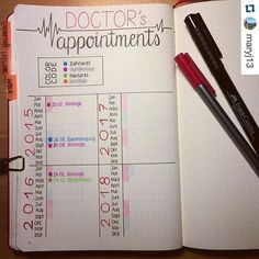doctor appointment tracker health fitness bullet journal bujo