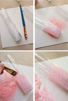 17 Creative DIY Vases to Hold Flowers - Pretty Designs DIY Glittery Pink Vases.do this with mason jars and wine bottles.not pink, maybe pearl or white glitter, then burlap and white lace Glitter Vases, White Glitter, White Lace, Silver Vases, White Ombre, Purple Glitter, Decoration Communion, Decoration Shabby, Mason Jars