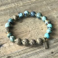 African turquoise and lava stone aromatherapy bracelet. #essential_oil_diffuser #aromatherapyjewelry