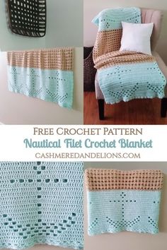 Free pattern for a nautical inspired blanket made using the filet crochet technique! Today I'm sharing a free pattern for the Nautical Filet Crochet Blanket! I have been on a roll lately with nautical themed crochet projects. Crochet Afghans, Crochet Patterns Filet, Filet Crochet, Crochet Squares, Baby Blanket Crochet, Crochet Stitches, Crochet Baby, Crochet Blankets, Baby Blankets