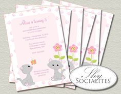 Cute Kitten Printable Invitations | Girls Birthdays or Baby Showers, Kitty, Cat, Pink, Flowers, Butterfly, Paws | Print at Home Digital File on Etsy, $15.00