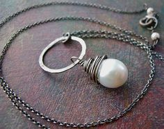 X 'Radiance' pearl pendant in sterling silver.