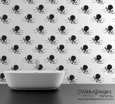 Octopus pattern wall decal nursery decor by ValdonImagesNursery #Bathroomwalldecals #Nauticalwalldecals #Homedecor
