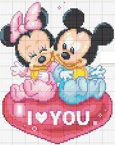 Minnie and Mickey Mouse x-stitch Cross Stitch Love, Cross Stitch Fabric, Cross Stitch Charts, Cross Stitching, Cross Stitch Embroidery, Embroidery Patterns, Disney Cross Stitch Patterns, Mickey Mouse And Friends, Disney Stitch