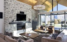 Like schist and black framed doors. Similar look for interior fireplaces, like black wooden hearth.