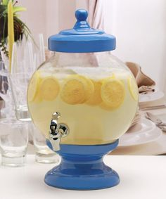 Serve your signature summer tea to guests with this glass beverage dispenser that will quickly become the center of your backyard party or picnic. W x H x DHolds gal. Donald Duck Party, Glass Beverage Dispenser, Cake Shop, Hurricane Glass, Catering, Beverages, Great Gifts, Tableware, Blue