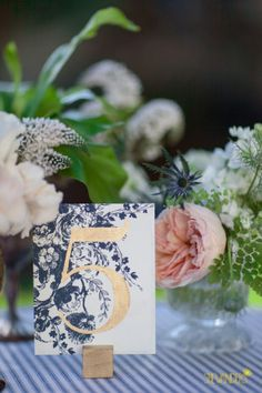 navy and gold table numbers