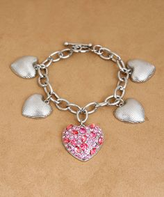 "Free Giveaway: 7.5"" Silver Hearts Bracelet with Rose Pink Rhinestones   Enter Here: http://www.giveawaytab.com/mob.php?pageid=718266404914878"