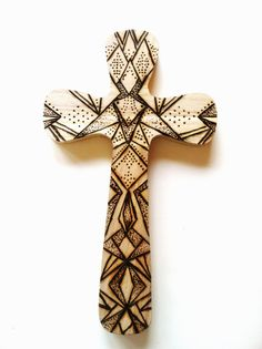 Wood burned cross for sale on etsy $15 Plain wood crosses to decorate also for sale at DIY Greek!