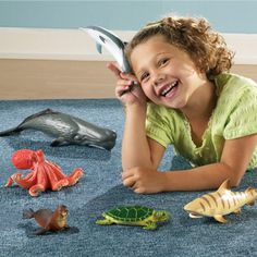 Dive into the ocean of pretend fun playing with this Learning Resources Jumbo Ocean Animals play set! Manufactured by Learning Resources. Plastic Animals, Large Animals, Bearded Dragon Diet, Animal Facts, Preschool Toys, Sensory Toys, Stem Activities, Learning Resources, Sea Turtles