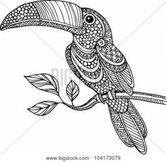 Hand drawn doodle outline toucan illustration decorated with ...