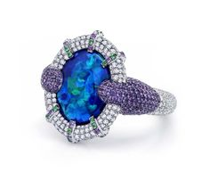 Martin Katz New York collection ring in white gold, set with a rare 8.01ct Australian black opal and micro-set diamonds, amethysts and tsavorites.