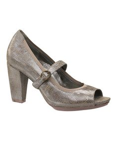 2529769f5a4a Loving this Essence by Aetrex Metallic Snakeskin Tara Leather Peep-Toe Pump  on  zulily