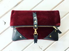 Hannah Wingate burgundy velvet clutch