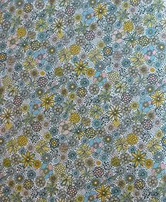 "ROBERT KAUFMAN ""LONDON CALLING 4"" Blue/Green Floral LAWN by yard F158A"
