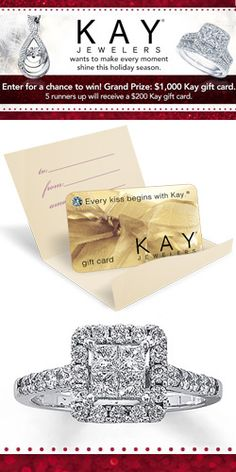 #RePin and Enter to #Win a $1000 #KayJewelers Gift Card! #shop #diamond #jewelry #sweeps VALID UNTIL DEC 22
