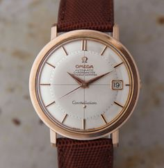 A divine all-original 1964 Omega Constellation in rose gold cap. Its original features include: dial with gold/black hands and markers; ref. 168004 automatic movement yielding 19,800 bph (5.5 beats per second), 24-jewel caliber 561; Incabloc shock protection; sweep seconds; 36mm case featuring engraved Constellation logo on back; signed crown. We have replaced the strap with a new lizard one, and the movement has been fully serviced and regulated. A little … Read More →