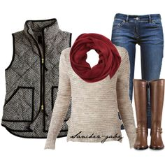 """Red Scarf & J.Crew Vest"" by sanchez-gaby on Polyvore"