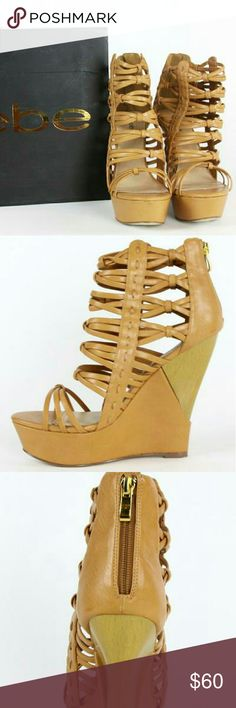 bebe Brianna Wedge Platform Heel sz 10 Bebe Brianna Wedge Platform Heel  Size: 10  Natural Colored Strappy Platform Wedge.  This pair is absolutely gorgeous!!!! Box Is Not In Perfect Condition. bebe Shoes Wedges