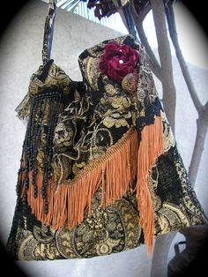 Gypsy Carpet Bag black fringed bohemian granny tapestry bag handmade shoulder fabric purse