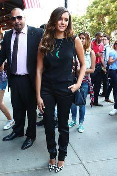 Nina Dobrev wearing Bionda Castana Harlequin Satin Daphne Bis Pumps and Rag & Bone Large Pilot Bag.