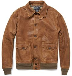 Timeless. - Distressed Leather Bomber Jacket   POLO RALPH LAUREN