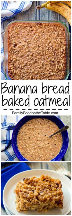 An easy baked oatmeal — just 10 minutes to prep — with big banana-cinnamon…