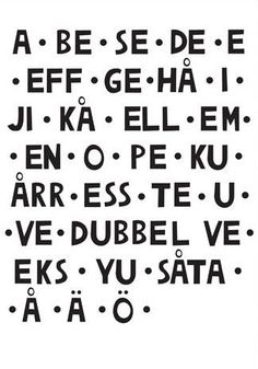 ♥ zweeds alfabet