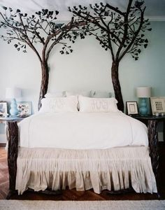 Beautiful bed and headboard ... LOVE this look!