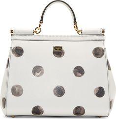 Dolce & Gabbana White Leather Polka Dot Miss Sicily Medium Bag