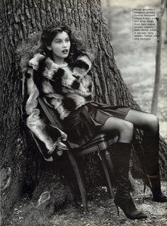 Laetitia Casta wearing Sergio Rossi boots, Vogue Italia November 1994 In Peluche Photo Arthur Elgort Editor Alice Gentilucci Hair Serge Normant Makeup Josée Lafontaine
