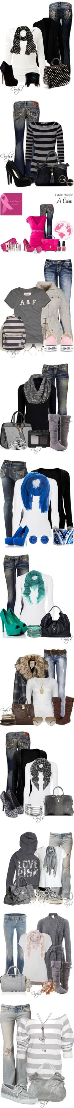 love most of the outfits......casual jeans, scarves and more ♥✤