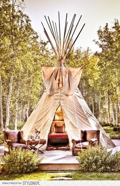 Camp in style with this stunning teepee, or create a gorgeous outdoor space when teamed with leather upholstered furniture. GO GLAMPING Backyard Camping, Camping Glamping, Camping Ideas, Teepee Tent Camping, Luxury Camping, Camping Checklist, Campsite, Outdoor Camping, Outdoor Spaces