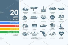 20 Miami icons. Water Infographic