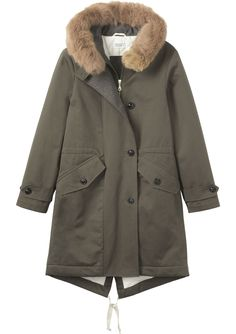 Warm parka in closely woven, water resistant cotton. Quilted cotton inside with wool facing. Large hood, lined in a wool-blend flannel, with detachable rabbit fur trim. Cinch waist. Two large, buttoned, patch pockets. Drawstring fishtail hem with back vent. Fur used is sourced as a by-product of the food industry.