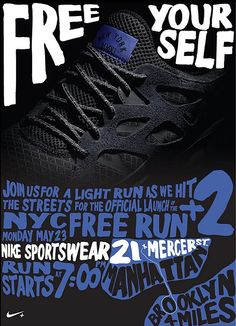 Nike Free Yourself Free Run 2 NYC 4 Mile Run Poster