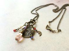 Compass Rose Necklace, Long Victorian Necklace, Antique Brass Czech Glass Necklace, Rose Pink Purple Moon, Vintage Style, Renaissance Woman