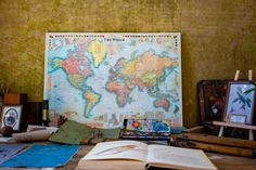 world map poster near book and easel These were some random items found in Belton House, a wealthy English estate where many items have been preserved as left by the Brownlow family. Map Pictures, Travel Pictures, Best Funny Pictures, The Script, World Map Picture, Belton House, World Map Poster, New Travel, Travel Goals