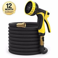 50 ft Hose - Expandable Garden Hose - Heavy Duty Flexible Hose - Water Hose with Spray Nozzle and Hose Storage Bag Set). Kink and Tangle-Free Lawn and Plant Watering System - Products Lists of Tools and Hardware Water Garden, Garden Hose, Lawn And Garden, Garden Tools, Hose Storage, Bag Storage, Plant Watering System, List Of Tools, Water Hose