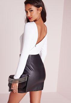 Petite zip posteriore Body Bianco - Missguided