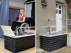 The Liftboy is designed for indoor and outdoor use! As the weatherproof lifting platform with a total weight of only 70 kg can easily be put up, it offers a perfect solution also for urgent or temporary needs. The lift can be equipped with special side entry or exit, upper access gate or transport wheels.