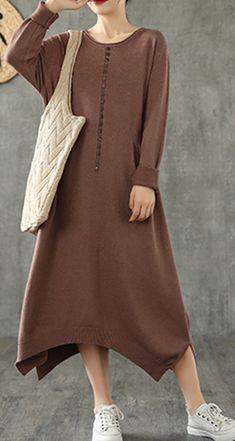 Cotton Long Dress, Cocoon Dress, Summer Dresses For Women, Fall Dresses, Cotton Tunics, Plus Size Maxi Dresses, Knit Dress, Dresser, Tunic Tops