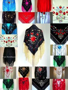 Beautiful New Embroidered Spanish Flamenco Dance Shawl - Lots of Colours - Large #PipsBoutique
