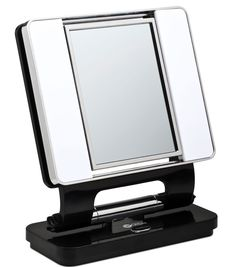 Ott-lite Natural Daylight Makeup Mirror, Black/chrome Watt) by OttLite : Beauty Unique Mirrors, Cool Mirrors, My Mirror, Makeup Mirror With Lights, Black Mirror, Makeup Light, Beautiful Mirrors, Bathroom Mirrors, Bathroom Fixtures