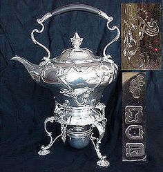 Art Nouveau Sterling Silver Tea Kettle/Stand
