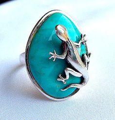 Sterling Silver Lizard Ring Turquoise Size by SteampunkEarthstones