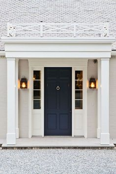 59 ideas for navy front door colors house Exterior Colors, Exterior Design, Interior And Exterior, Dutch Colonial Exterior, Colonial Front Door, The Doors, Entry Doors, Front Entry, Dark Front Door